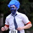 Simon Horan, of Dunedin, injecting some fun into the gruelling run. Photos: Peter McIntosh.