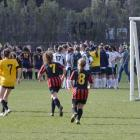 Action from the girls' football tournament at Logan Park.PHOTO: GERARD O'BRIEN