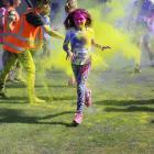 Olivia Shore (left, 9), of Wanaka, is all colours of the spectrum at the Alexandra Rainbow Run...