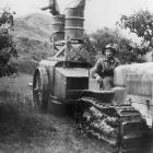 Norman Martin with a home-made sprayer that ''Health and Safety would ban today'' Photo supplied.