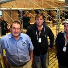 Sheep suppliers Trevor, Morgan and Clayton Peters stand backstage at the World Shearing and...
