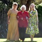 Mona Mathewson (91), of Mosgiel, walks with Monica Lindemann (left) and Rachel Tombs as they...