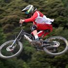 Calum Booth, of Dunedin, flies through the air in the CJ Suspension South Island Cup at Signal...