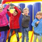 Local youngsters enjoying the bouncy castle at the Queenstown Primary School fair yesterday are (from left) India Hodge (7), Luka Jasz-Miller(6), Charlie Davis (5) and Seb Thornburgh (3). Photos by Louise Scott.