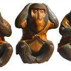 Front view of the carved Three Wise Monkeys at Olveston Historic Home.