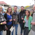 Rory Butler (right) enjoys the Clyde Wine and Food Harvest Festival with (from left) Glenys Coughlan and Lucie Cornu, Julien Mongeot, Emmanuel Rostaing-Tayard and Carine Aynard yesterday. Photos by Pam Jones.