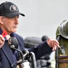 Dunedin RSA senior vice-president Fred Daniel speaks to the riders of the Deep South Patriots Defence Force Motorcycle Club before the ''Ride of Respect'' on Saturday. Photos: Peter McIntosh.