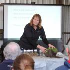 Soil scientist Trish Fraser talks to farmers at the Waihao Wainono Community Catchment Group's field day at Hugh and Liz Wigley's farm. Photos: Sally Brooker.