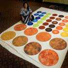Dunedin artist Ana Teofilo Fa'anunu with some of her art works she is preparing for her solo show. Photo: Gerard O'Brien.