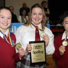 Dunstan High School pupils (from left) Zoe Rendall, Kathryn Smit and Shoi Nagase (all 14) bring...