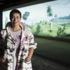 Lisa Reihana with her Pursuit of Venus panoramic video, on show at the Venice Biennale. Photos: Supplied