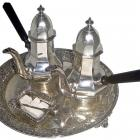 This silver coffee service at Olveston, inscribed 1904, is modelled on the 18th-century style of...