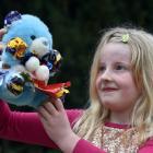 Breana Geddes-Pringle (8), of Oamaru, shows off her teddy, Miss Cadbury. Photos: Peter McIntosh.