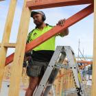 Cromwell builder Jake Heremaia pieces together a new home in The Pines subdivision. PHOTOS: JONO...