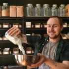 Wild Fennel Co's Dan Pearson experiments in his new store at Port Chalmers. Photos: Peter McIntosh