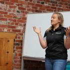 DairyNZ's Sarah Dirks talks to dairy farmers about giving their calves the best start in life, at a Dairy Women's Network weaning workshop recently. Photos: Nicole Sharp