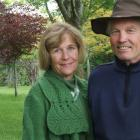 Marjorie and Mark Hay stand in front of a woodland area planted 24 years ago. Photos: Sally Rae