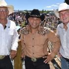 The president of the New Zealand Rodeo Cowboys Association, Lyal Cocks (left), with MP Ron Mark (centre) and national rodeo spokesman Michael Laws at the Wanaka Rodeo yesterday. Photos: Gregor Richardson
