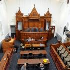 A TV is set up as part of the new  equipment installed in the Edwardian High Court room. Photos:...