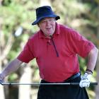 Dave Anngow, of Christchurch, contemplates a shot on the 17th fairway.