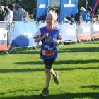 Matthew Hannah (9), of Brighton, heads down the home straight to the finish line yesterday. Photos: Christine O'Connor