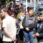 Just over 700 people queued for up to an hour outside the Dunedin Central Police Station for yesterday's public open day. Photos: Christine O'Connor