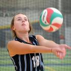 St Hilda's Collegiate player Sophie Allison concentrates as she plays the ball at the Otago schools' volleyball championships at the Edgar Centre on Saturday. Photos: Christine O'Connor