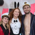At the ''Hugh Hefner mansion'' on Hyde St, are (from left) Beth Clearwater (19),  Lauren McAuley ...