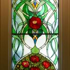 Peonies feature in the new stained-glass window in the stairwell.