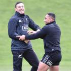 Sonny Bill Williams (left) does a bit of lighthearted sparring with Ngani Laumape at the...