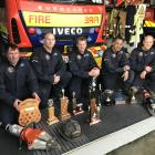 Showing off their silverware are Milton Volunteer Fire Brigade team members (from left) Nathan Tapp, Haydon Crabb, Matt Jones, Pene Ngatai and Aaron Stephen. Photos: Emma Perry