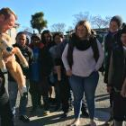 DairyNZ animal care extension specialist Tony Dench teaches calving best practice, using a life-sized rubber calf, at a CalvingSmart workshop in Hinds.