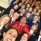 Class Act award winners pose for a selfie taken by Prime Minister Jacinda Ardern at the Otago...