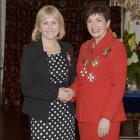 (from left) Alison Timms pictured with Governor-General Dame Patsy Reddy, of Cromwell, MNZM, for services to local government and the environment. Photos: Government House