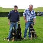 """Mike Trotter with Sam and Mangu (Fairlie) and Alistair """"Ten Speed"""" Paul with Rex (Balclutha). Photos: Supplied"""
