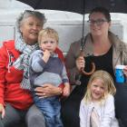 Grandmother Gillian Davies, Jack (2), mother Claire, and Elizabeth Briscoe (4), all of Oamaru.
