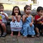 Loukas Theodoulou (3), Maia Bowden-Vu (2), Lily Hanson (3) and Connor Pearson (2) enjoy a...