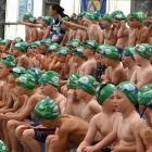 Seven-year-old boys wait for their turn to swim in the Weet-Bix Kids' Tryathlon in Mosgiel...