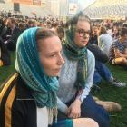 Emily Wood (left) and Thea Bailie-Bellew are among many wearing hijabs in solidarity with the...