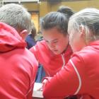 St John's School pupils (from left) Sage Paterson (11), Bianca Jorgensen (12) and Alivia Steele ...