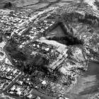 An aerial photograph taken on the morning after the disaster. PHOTO: ODT FILES