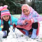 Sisters Hanni (4) and Hanna (7) Azmi enjoy the snow in Invercargill yesterday. Photos: Luisa...