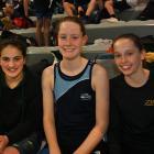 Clara Peniamina (12) of the Kiwi Club, Emma Morton (13) of Cromwell Club and Caitlin Hewson (13) of Zenith Club.
