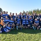 Ellesmere celebrates reclaiming the Southbridge Shield after a 41-28 win over North Canterbury at...