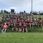Palmerston and Waikouaiti rugby teams come together for a post-match photo. Photos: Supplied