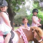 At the Fairton School pet day are (from left) pupils Olivia Elstone (5), on Polly Pocket, Grace Wall (5) and Grace Bramley (6), on Bimbo. Photos: Toni Williams