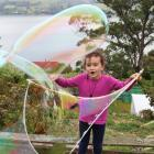 Ella-Rose Preece (5) can hardly believe her eyes at how big the bubbles she has made are, at home in Maia, Dunedin, on January 2. Photo: Gina Preece