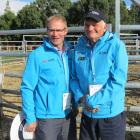 Conference organising committee chairman Phil Barnett (left) catches up with Locharburn Hereford...