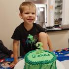 Maddox Marshall, of Fairfield, helped make his own Gekko birthday cake. PHOTO: LISA MARSHALL