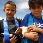 Kioua O'Neill (9, left), of Alexandra, with guinea pig Oreo, and Tane Herbert-Nicho (9), of...